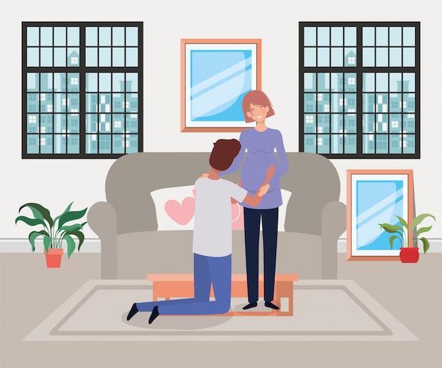 Pregnancy couple in livingroom scene
