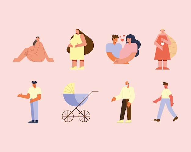 Pregnancy family characters illustration