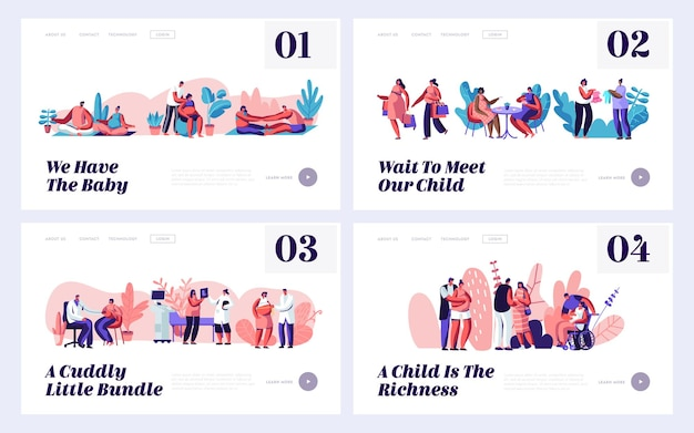 Pregnancy and family waiting baby website landing page templates set.
