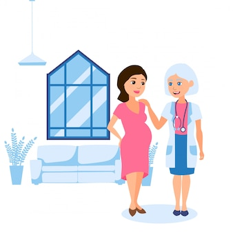 Pregnancy final, consultation with personal obstetrician gynecologist  illustration. woman with big tummy talking to doctor