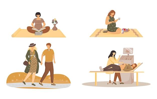 妊娠フラットイラストセット。妊娠ライフスタイル。教育、健康的な栄養、散歩、病院の診察。白い背景の上の赤ちゃんの孤立した漫画のキャラクターを待っています