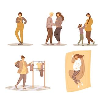 임신 평면 그림을 설정합니다. 출산, 준비 및 임신. 흰색 배경에 아기 격리 된 만화 백인 캐릭터를 기다리고 젊은 여성과 그들의 가족