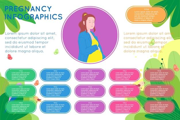 임신 인포 그래픽. 임신하고 행복한 아름다운 젊은 여성은 자연 배경과 다양한 데이터 다채로운 요소로 배꼽을 잡고 있습니다. 평면 스타일의 벡터 일러스트 템플릿