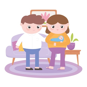 Pregnancy and maternity, parents with baby in the living room