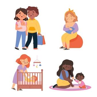 Scene di gravidanza e maternità illustrate
