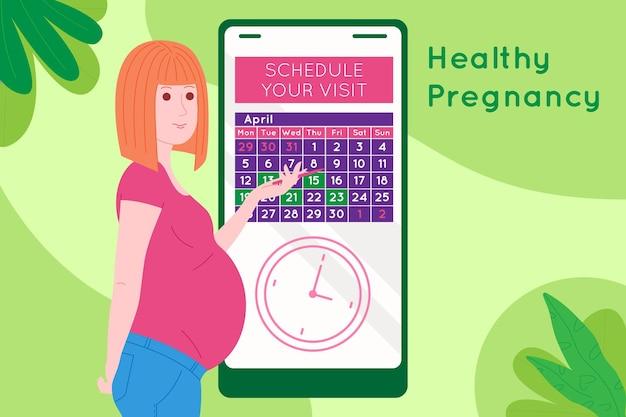 임신 진료 예약. 임신한 행복한 아름다운 젊은 여성은 달력을 사용하여 의사와 약속을 합니다. 아이의 탄생을 기다리는 여자의 평평한 만화 벡터 삽화.