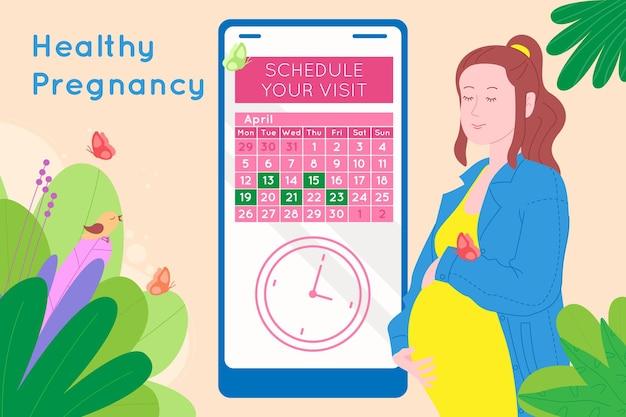 妊娠中の医療の予約。妊娠中の幸せな美しい若い女性は、カレンダーを使用して医師との約束をします。子供の誕生を待っている女性のフラット漫画ベクトルイラスト。