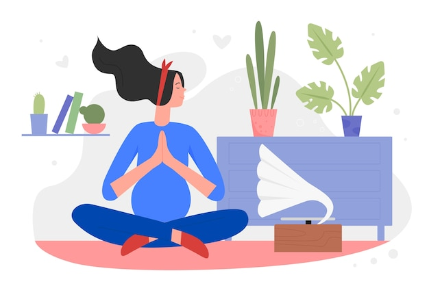 Pregnancy meditation yoga   illustration.  beautiful pregnant woman character relaxing, meditating in lotus yoga asana pose, listening to music in home apartment interior background