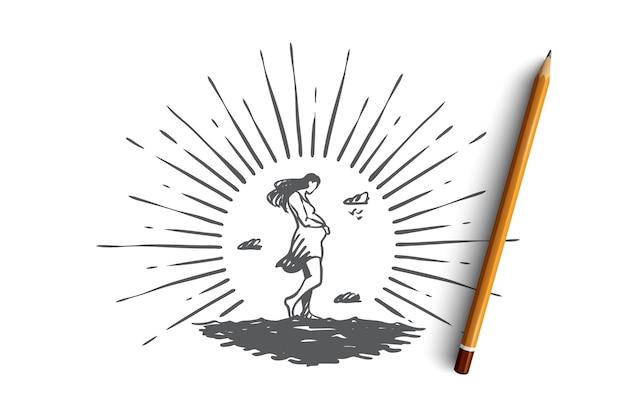임신, 어머니, 출산, 모성, 여성 개념. 임신 한 여자 개념 스케치의 손으로 그려진 된 실루엣입니다.