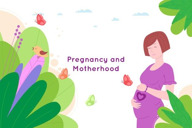妊娠、母性の概念のバナー。妊娠中の幸せな美しい若い女性は、子宮の中で赤ちゃんのシンボルとして心臓を描いた彼女の腹を持っています。フラット漫画ベクトルイラスト。