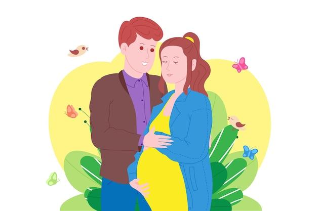 Беременность, концепция материнства. беременная и счастливая красивая молодая женщина держит живот, обнял молодой человек. плоский мультфильм векторные иллюстрации супружеской пары, ожидающей рождения ребенка.