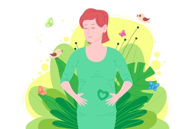 妊娠、母性の概念。妊娠中の幸せな美しい若い女性は、子宮の中で赤ちゃんのシンボルとして心臓を描いた彼女の腹を持っています。フラット漫画ベクトルイラスト。