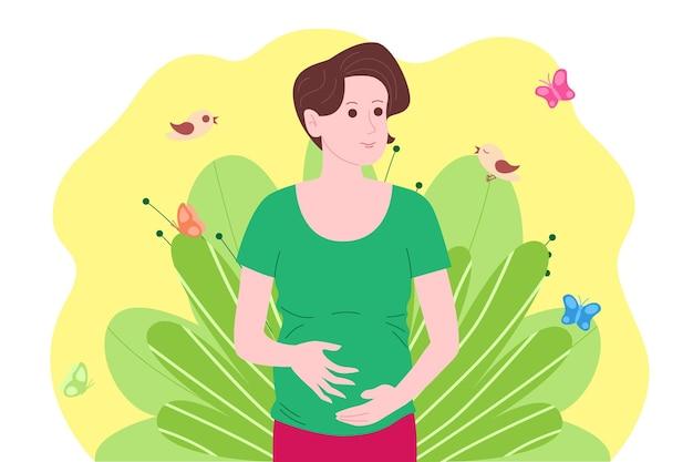 妊娠、母性の概念。妊娠中の幸せな美しい若い女性は、子宮の中で赤ちゃんと一緒に彼女の腹を保持します。子供の誕生を待っている女性のフラット漫画ベクトルイラスト。