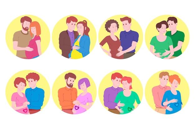 Беременность, набор концепции материнства. беременная и счастливая красивая молодая женщина держит живот, обнял молодой человек. плоский мультфильм векторные иллюстрации супружеской пары, ожидающей рождения ребенка.