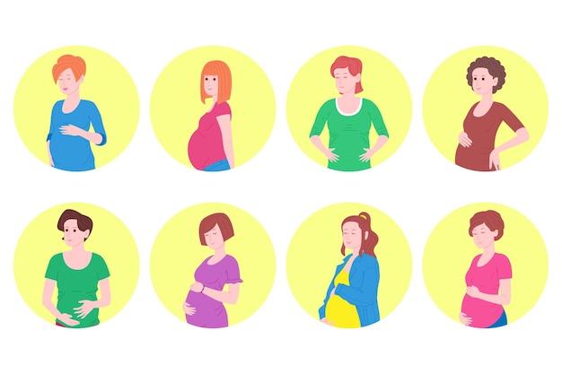 Беременность, набор концепции материнства. беременная и счастливая красивая молодая женщина держит живот, на котором изображено сердце как символ младенца в утробе матери. плоские изолированные векторные иллюстрации шаржа.