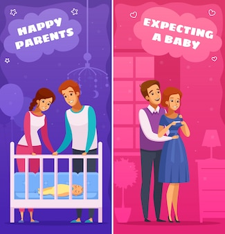 Pregnancy newborn cartoon illustration