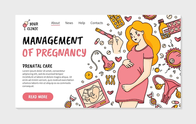 Pregnancy and prenatal care clinic landing page in doodle style with woman
