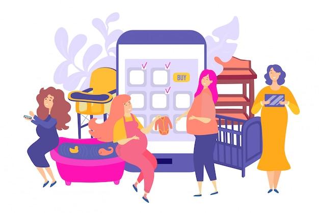 Покупки беременности для младенца, иллюстрации. будущие мамы группового персонажа совершают покупки онлайн на большом смартфоне.