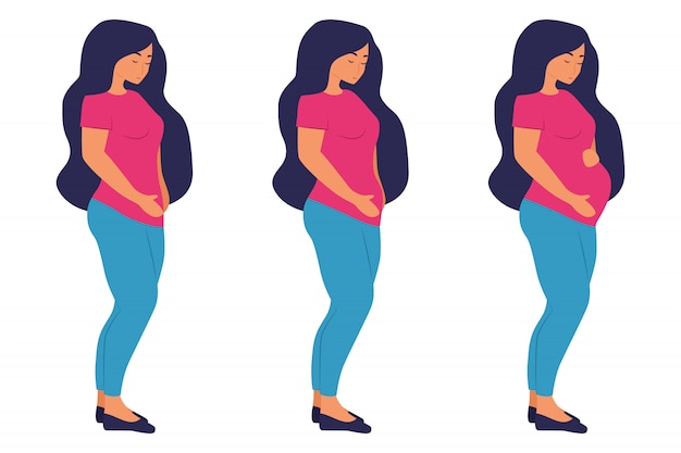 임신 단계. 귀여운 플랫 만화 캐릭터. 임신 한 여자와 출생 신생아 임신. 임신 중 여자 배꼽 그림입니다. 흰 배경에 고립.