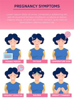 Pregnancy symptoms illustration concept