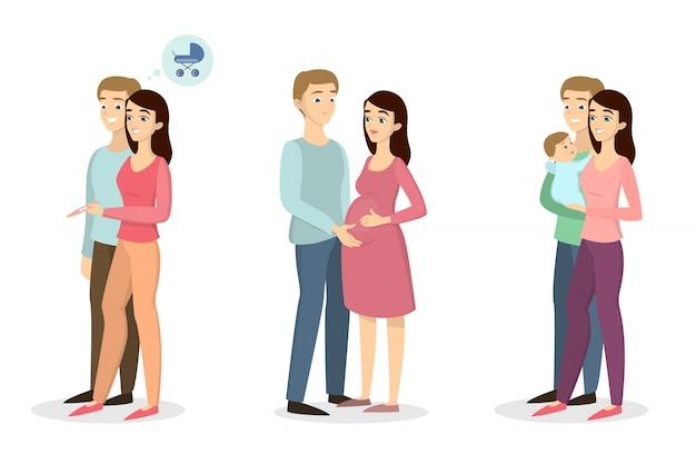 妊娠検査のコンセプトです。カップルが待っているとテストを調べます。赤ちゃん誕生。