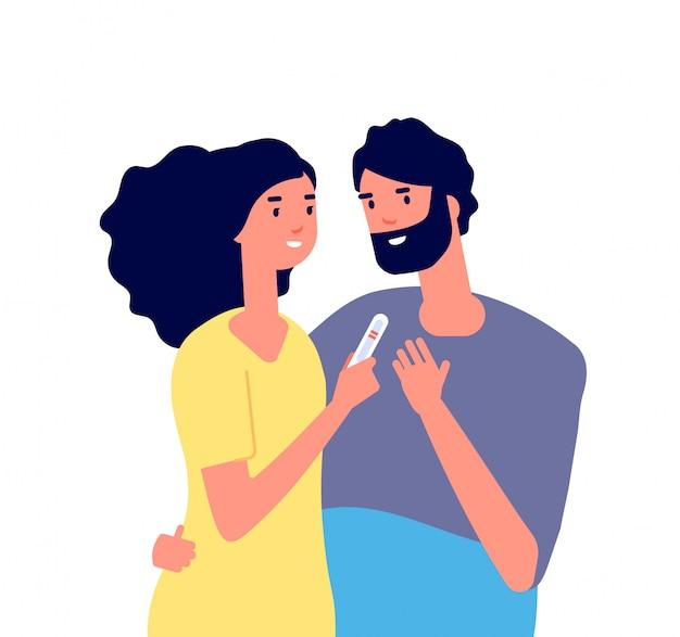 妊娠検査。 2つの行を示す妊娠検査を見て幸せな若いカップル。家族計画医療ベクトル概念