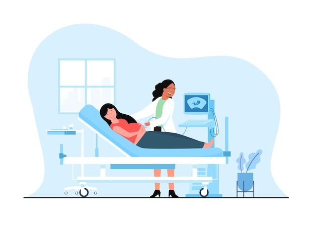 여성 의사와 임신 초음파 진단 스캔.