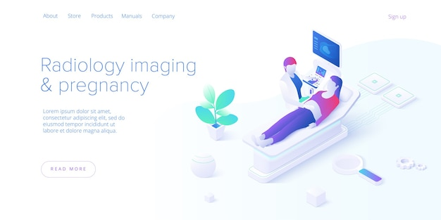 Pregnancy ultrasound screening in isometric vector design. radiology imaging scan procedure with pfemale doctor and patient. healthcare medical sonogram. web banner layout template for website.