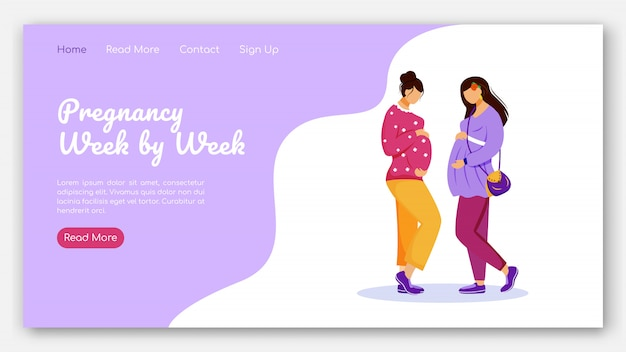 Pregnancy week by week landing page vector template. calendar for pregnant woman website interface idea with flat illustrations. prenatal care homepage layout landing page