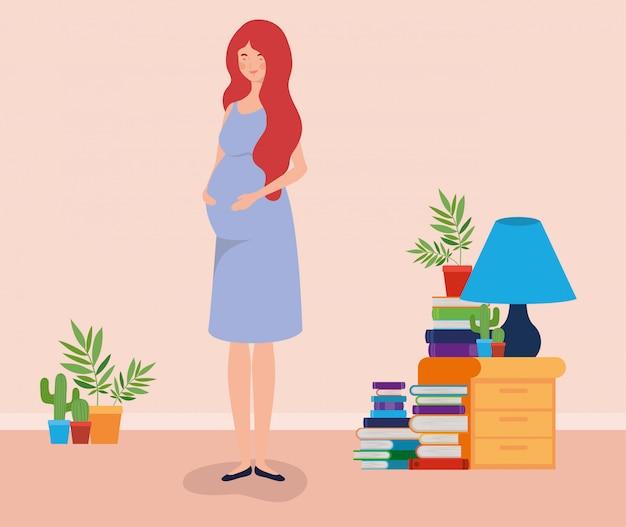 집 장소 장면에서 임신 여자
