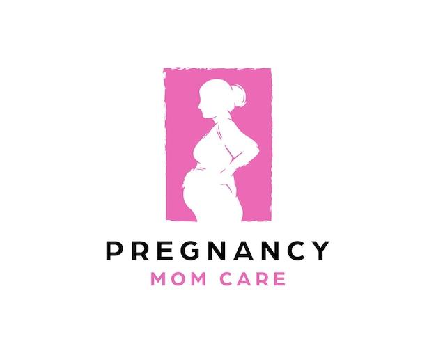 妊娠中の女性のロゴ。ママケアロゴデザインテンプレート