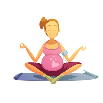 Pregnancy yoga exercises retro cartoon poster