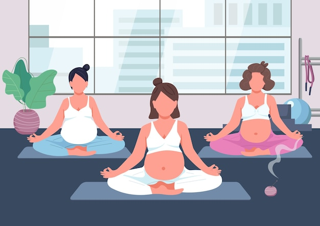 Pregnancy yoga group flat color . prenatal exercise class. woman with baby belly meditate. young mother relax. pregnant 2d cartoon characters with interior on background