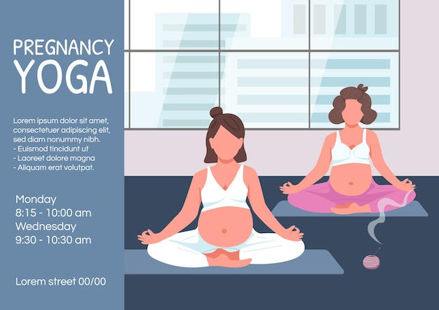 Pregnancy yoga poster flat template. expecting mother meditate in lotus pose. brochure, booklet one page concept design with cartoon characters. prenatal training flyer, leaflet