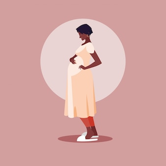 Pregnant afro woman avatar character
