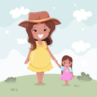 Беременная и дочь