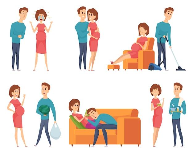 妊娠中のカップル。幸せな妊娠中の妻のキャラクターの近くに幸せな若い家族の母と父の夫。イラスト妊娠中の母親と夫の愛