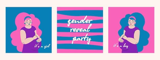 임신한 귀여운 젊은 여성은 소녀이며 성별 공개 파티를 위한 소년 인사말 카드입니다.