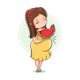 Pregnant eating watermelon