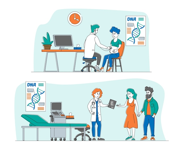 Pregnant female character at doctor appointment Premium Vector