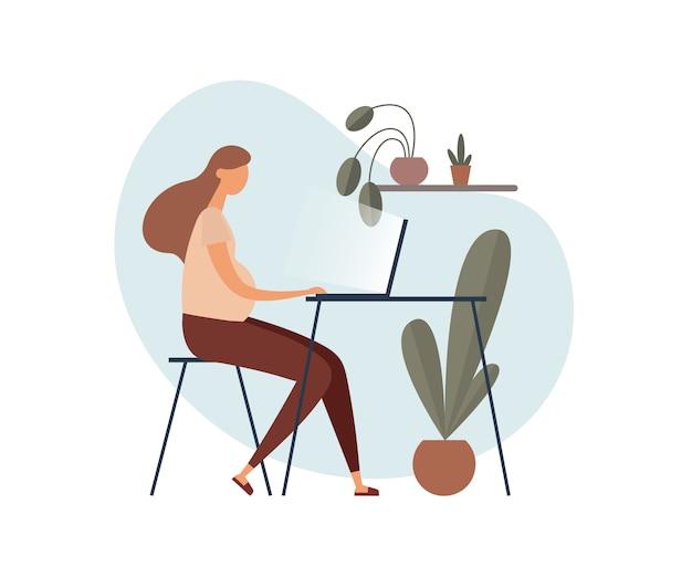 Беременная фрилансер с помощью ноутбука на дому. иллюстрация