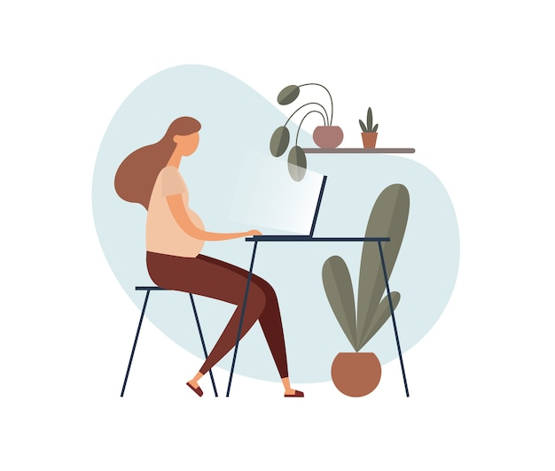 Pregnant freelancer using laptop at home.   illustration