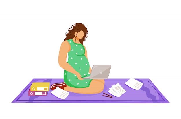 Беременная женщина-фрилансер с ноутбуком делает ее иллюстрацию работы. удаленный рабочий. молодая девушка делает рабочую задачу, сидя на полу мультипликационный персонаж на белом фоне