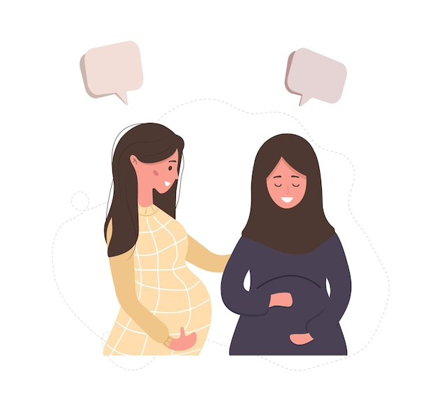 Pregnant girl talk to each other.