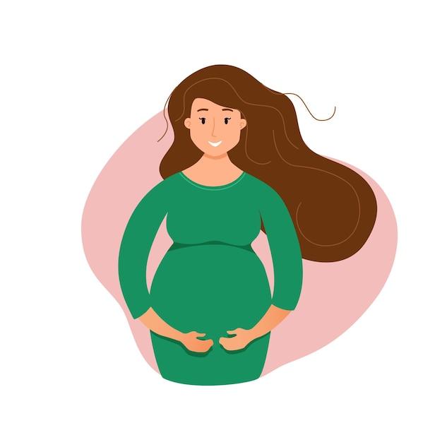 妊娠中の幸せな少女カラフルな漫画。彼女の腹を愛撫する美しい妊婦。