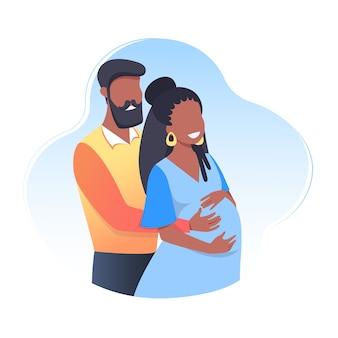 Беременная счастливая молодая женщина с мужем, будущими родителями, концепция беременности и материнства, забота, здоровье