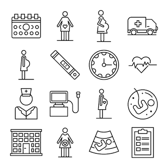 Pregnant icons set, outline style