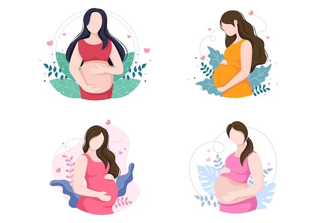 Беременная леди фон векторные иллюстрации