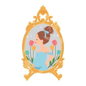 妊娠中の女性がアンティークの鏡の前でポーズをとる。幸せな母の日のお祝い