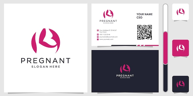 Pregnant logo with business card design vector premium